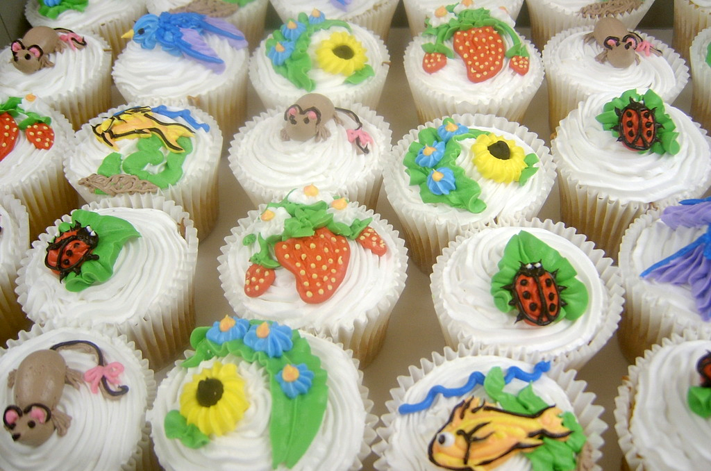 springtime decorated cupcakes