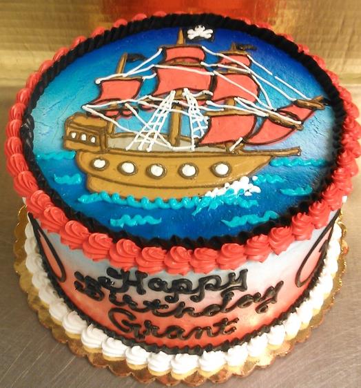 Boy Pirate Ship Theme Cake