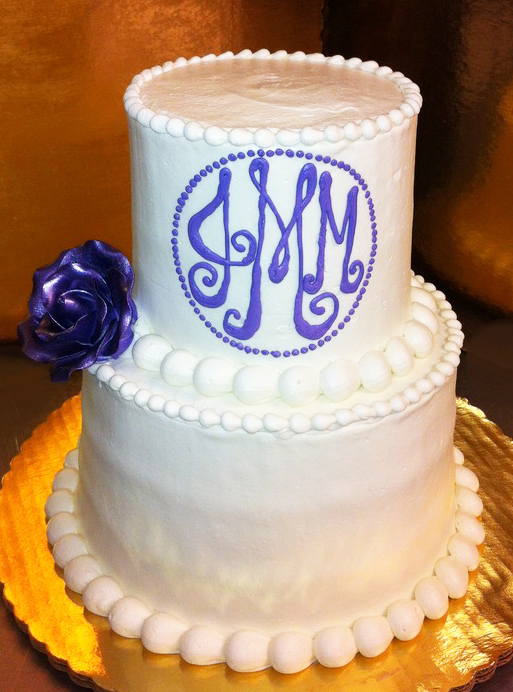 Simple Monogram Wedding Cake