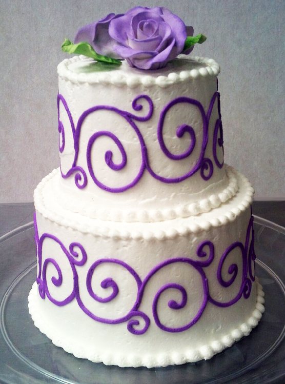 Purple Scroll Wedding Cake