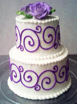 Purple Scroll Wedding Cake