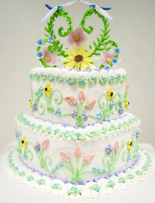 Colorful Dragonfly Wedding Cake