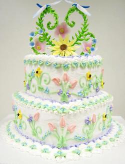 Colorful Dragonfly Wedding Cake