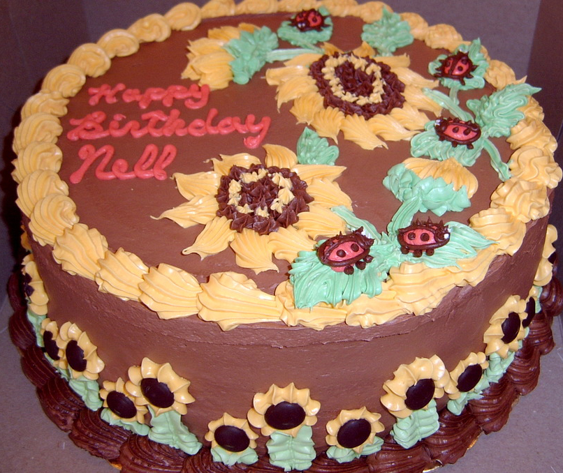 Girl Lady Bug and Sunflower Cake