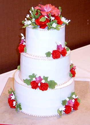 Simple Elegant Rose Wedding Cake