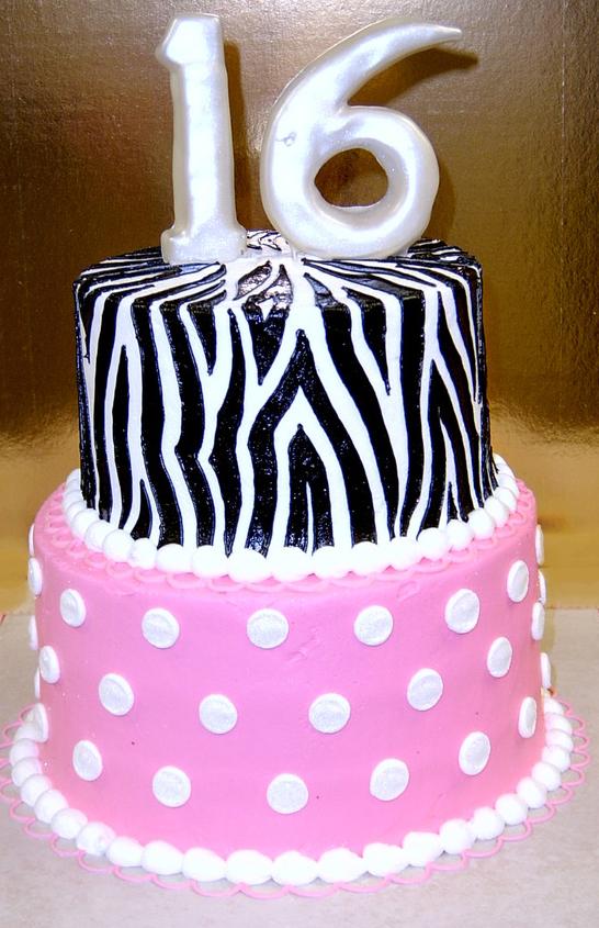 Girl Sweet Sixteen Zebra and Dot Cak