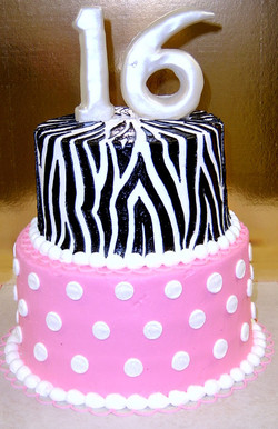 Girl Sweet Sixteen Zebra and Dot Cak