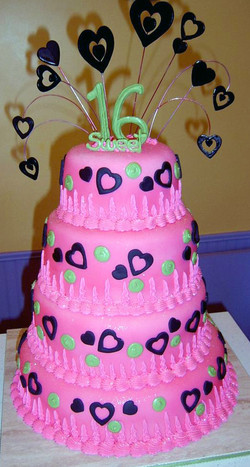 Girl Sweet Sixteen Pink/Black Tiered