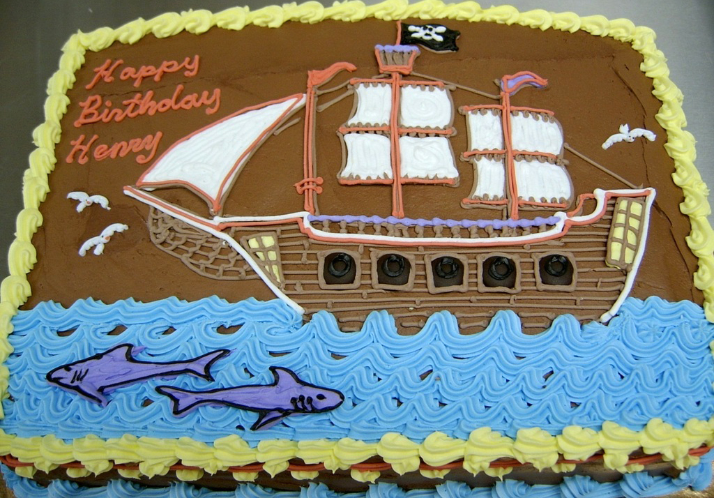 Boy Ship and Shark Cake