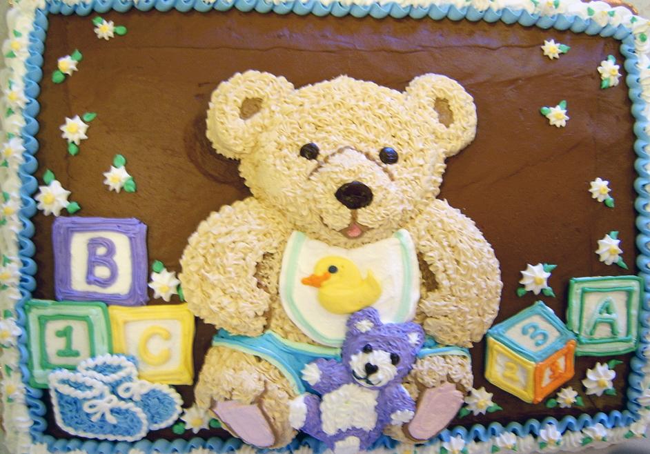 Baby Shower 2D Bear and Blocks Cake