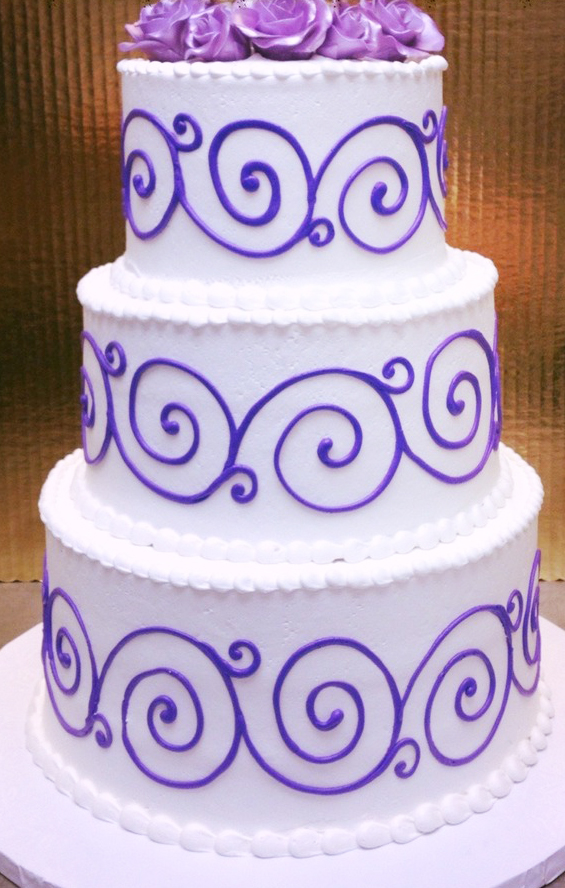 Blue Scroll Wedding Cake