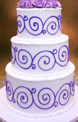 Blue Scroll Wedding Cake