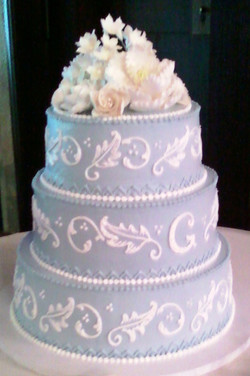 Elegant Painted Leaf Wedding Cake