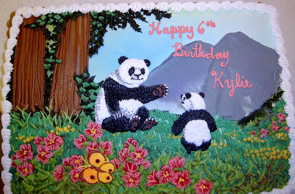 Girl Panda in Forest Cake
