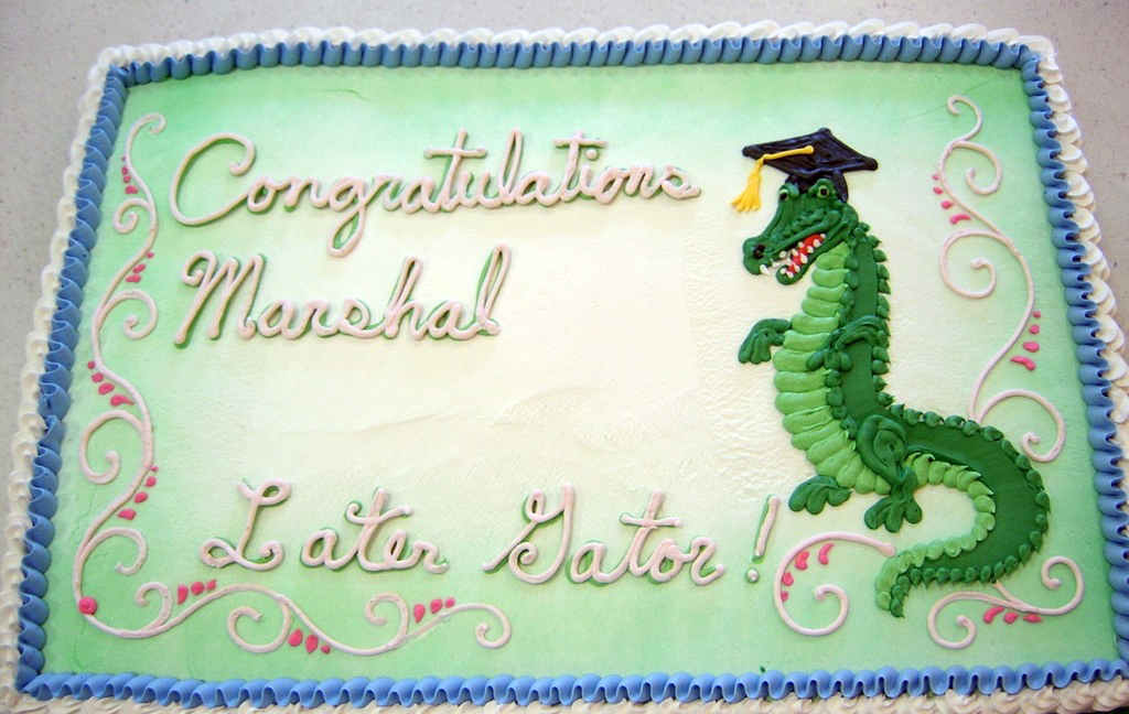 Graduation Alligator Cake