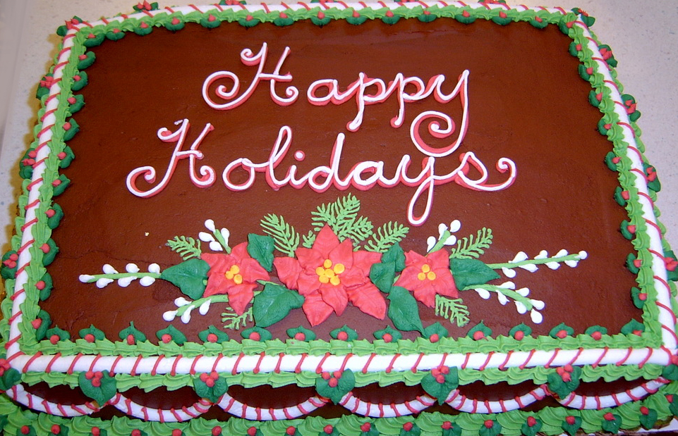 holiday poinsettia cake