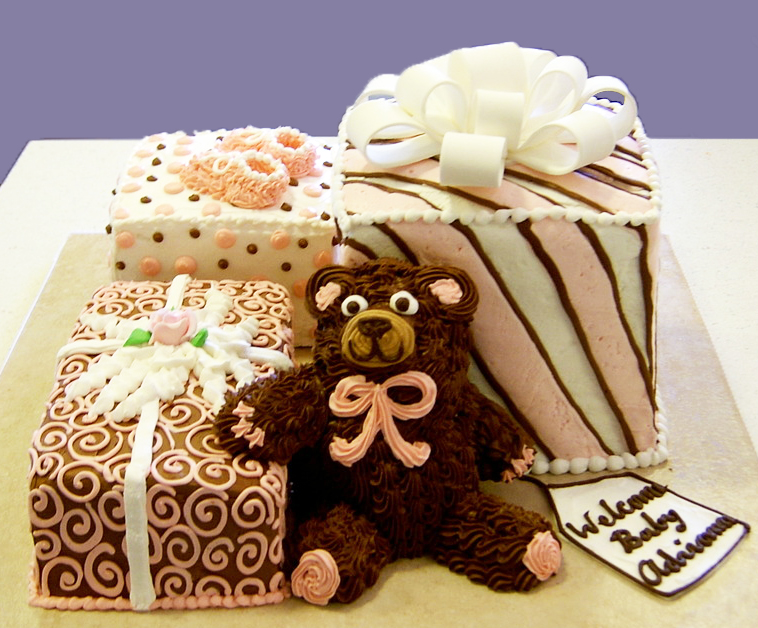 Baby Shower Bear and Gifts Cake