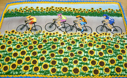 Adult Bike Ride Through Sunflowers
