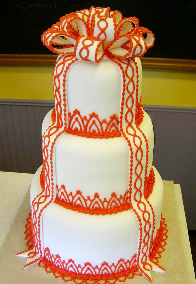 Red and White Loop Bow Wedding Cake