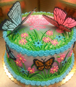 Girl Sculpted Butterfly Theme Cake