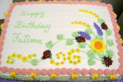 Girl Ladybug and Flower Cake