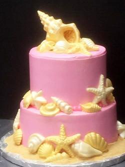 Pink Seashell Wedding Cake