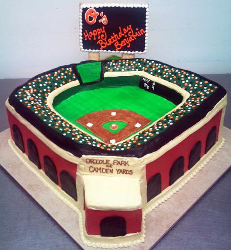 Boy Sculpted Baseball Stadium Cake