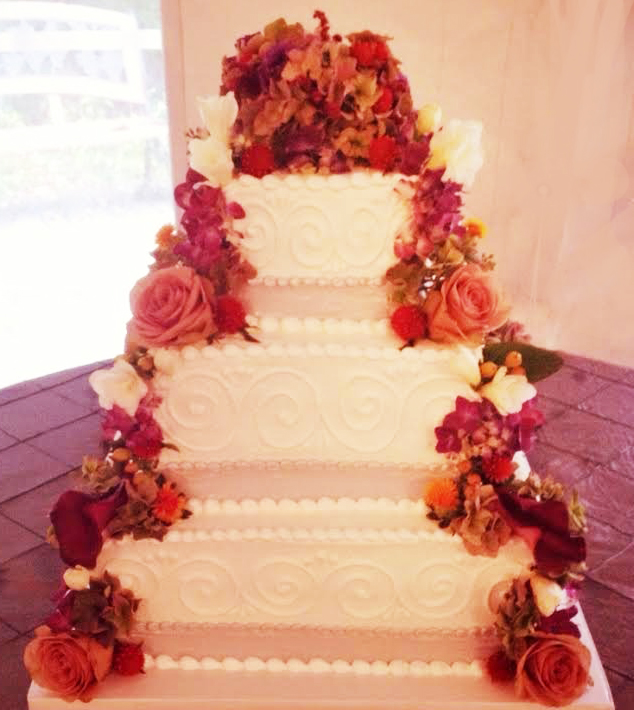 Square Cascading Rose Wedding Cake