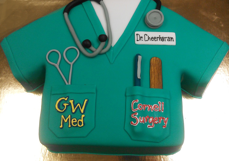 Adult Sculpted Medical Shirt Cake