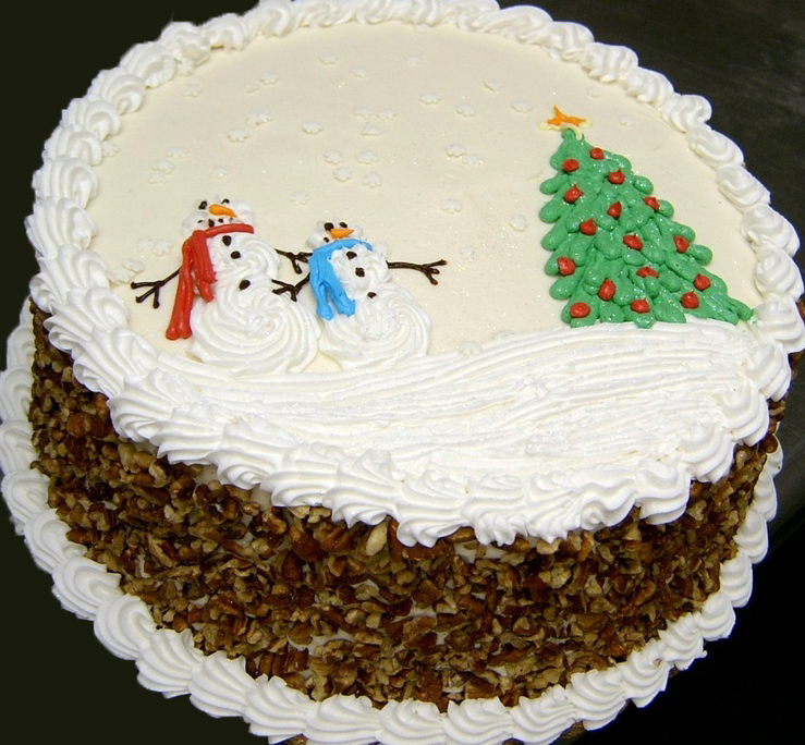 Holiday scene carrot cake