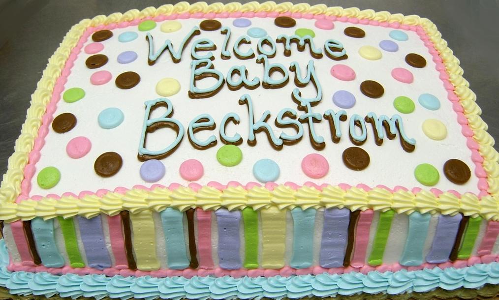 Baby Shower Stripes/Polk-a-Dots Cake