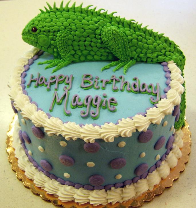 Girl Sculpted Iguana Cake
