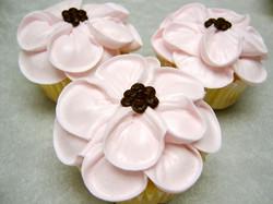 pink flower petals cupcake