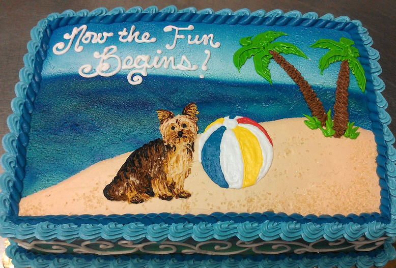 Adult Puppy on Beach Cake