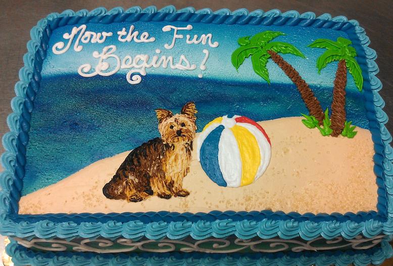 Adult Puppy on Beach Cake