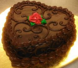 chocolate fudge swirl heart cake