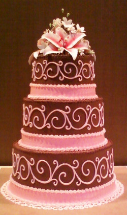 Pink and Brown Scroll Wedding Cake