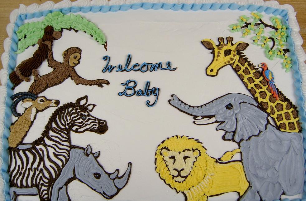 Baby Shower Jungle Animals Cake