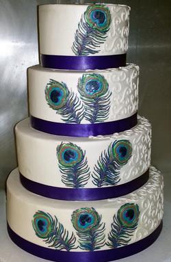 Peacock Feather Wedding Cake