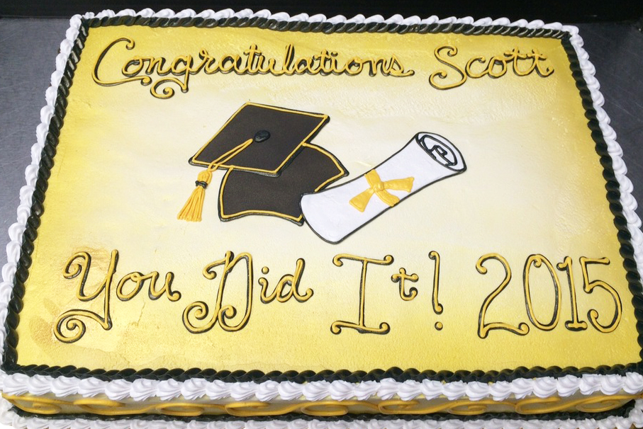 Graduation Cap and Scroll V Cake