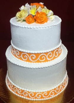 Simple Floral Topped Wedding Cake
