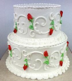 Running Scroll Rosebud Wedding Cake