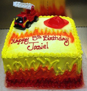 Boy Fire Truck Theme Cake