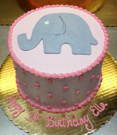 Girl Simple Elephant Theme Cake