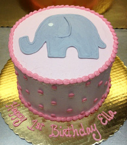 Girl Simple Elephant Theme Cake