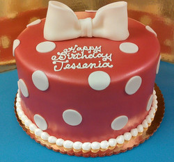 Girl Sculped Bow and Polk-a-Dot Cake
