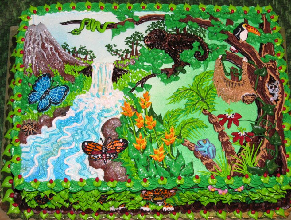 Girl Jungle Theme Cake