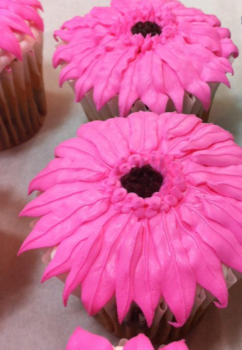 bright pink flower cupcake