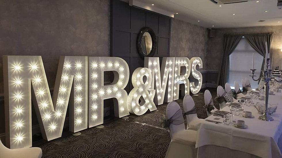 5ft Mr & Mrs LED LETTERS