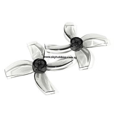 Gemfan 35mm 4-blade Propellers (1.0mm Shaft) (8pcs) - CLEAR GREY